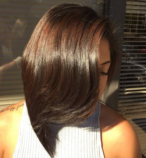 Long Angled Bob For Black Women
