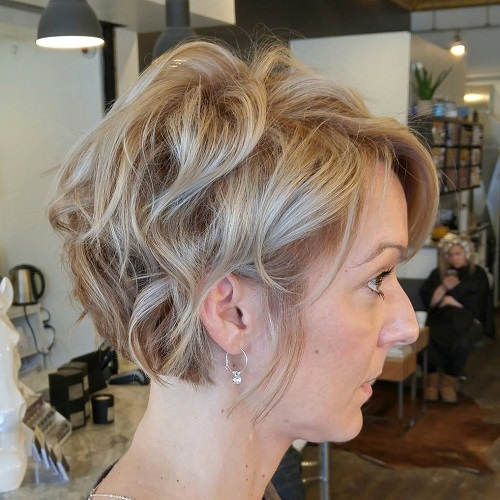 Tousled Curly Short Hairstyle For Fine Hair