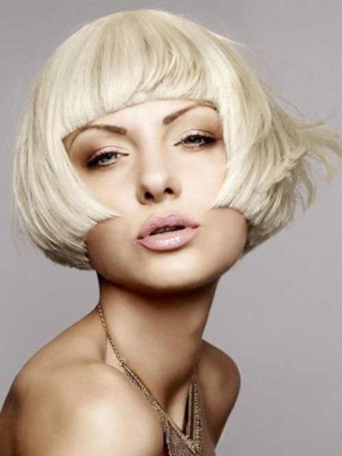 Strict bob with straight fringe