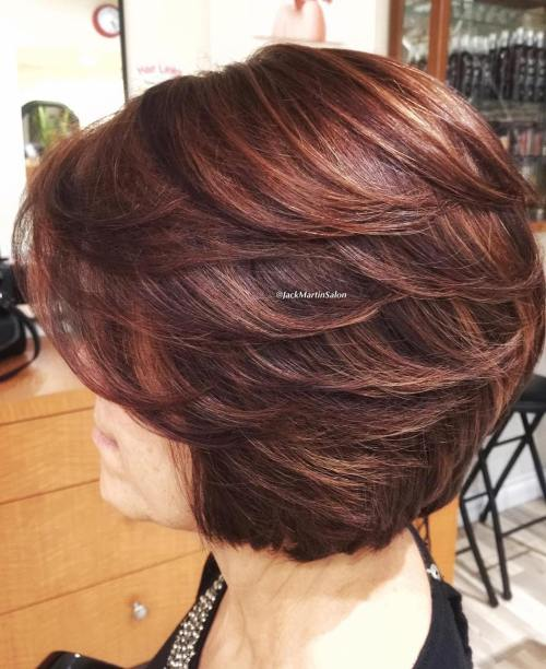 medium length layered bob for women over 60 short