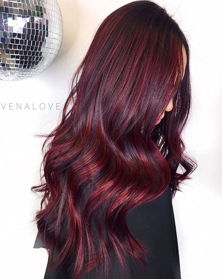 Long Burgundy Balayage Hair