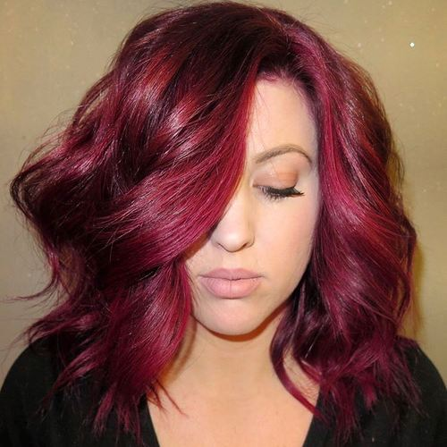 Wavy Burgundy Lob For Thick Hair
