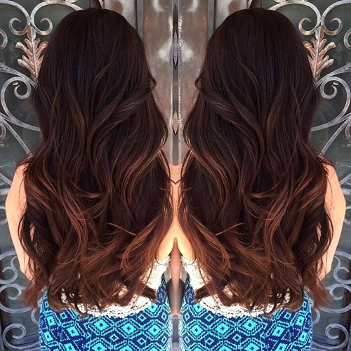 balayage highlights on dark brown hair