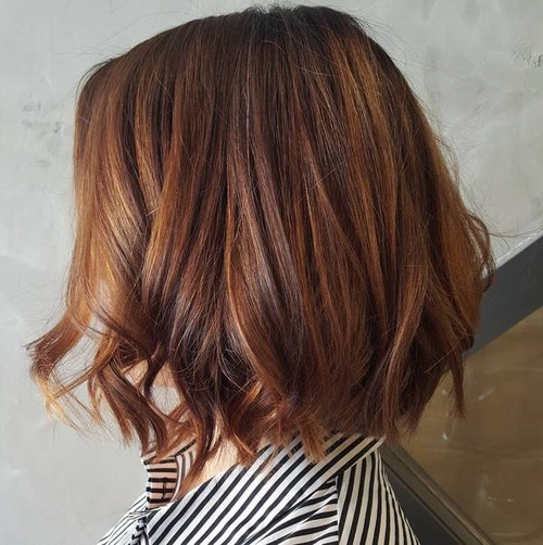 Brown Bob With Copper Balayage