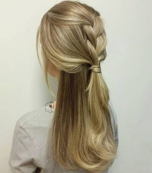 Simple Braided Half Updo For Thick Hair