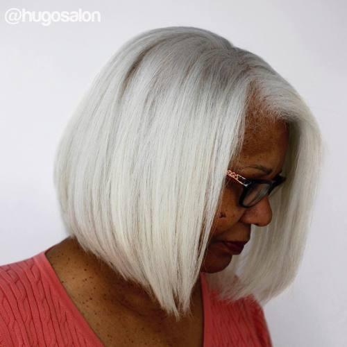 Straight Silver Bob For Black Women
