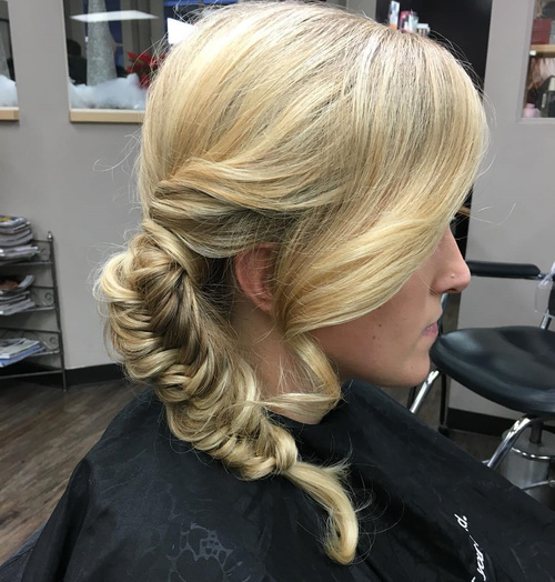 side fishtail for blonde hair
