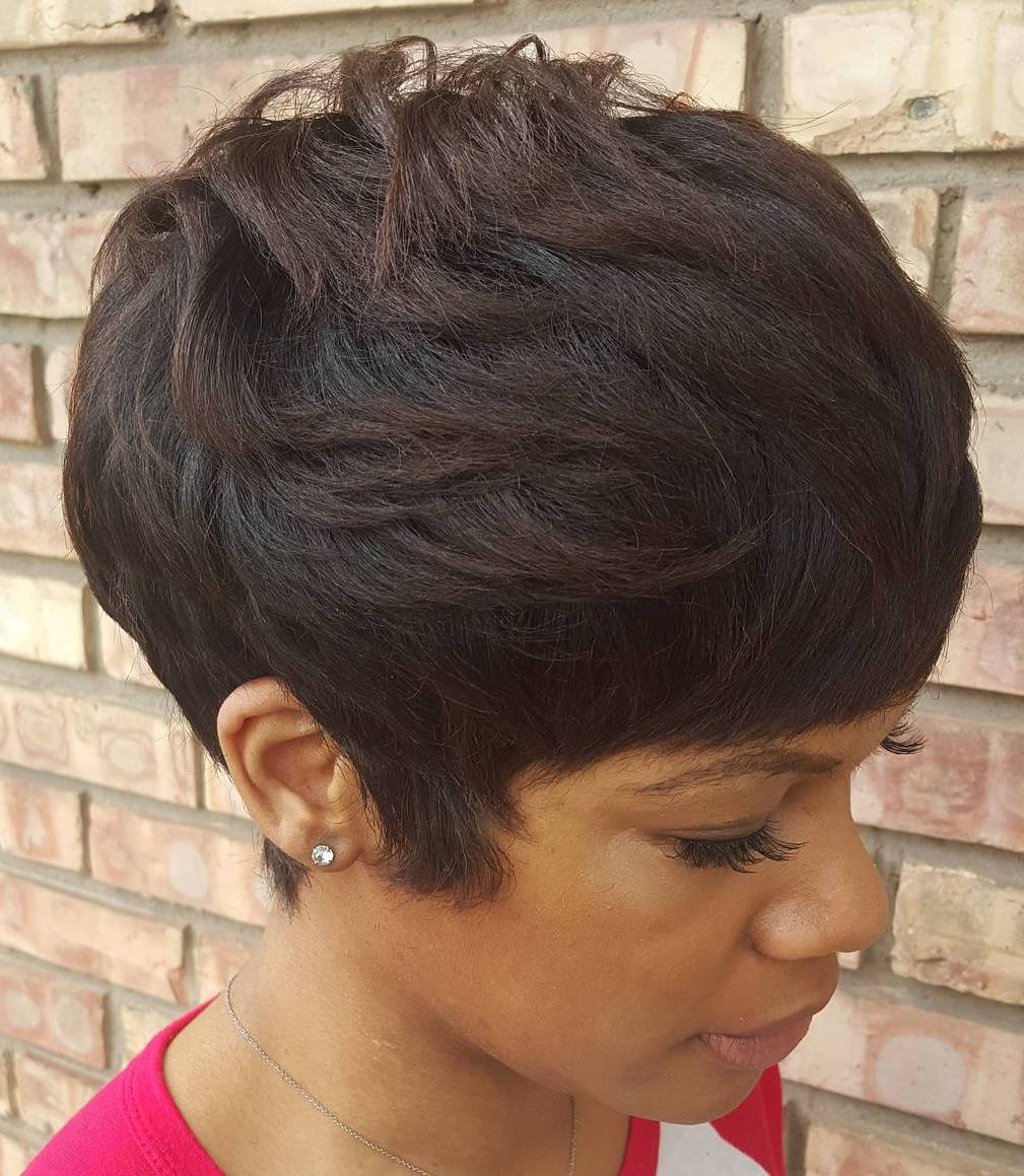 African American Pixie With Short Bangs