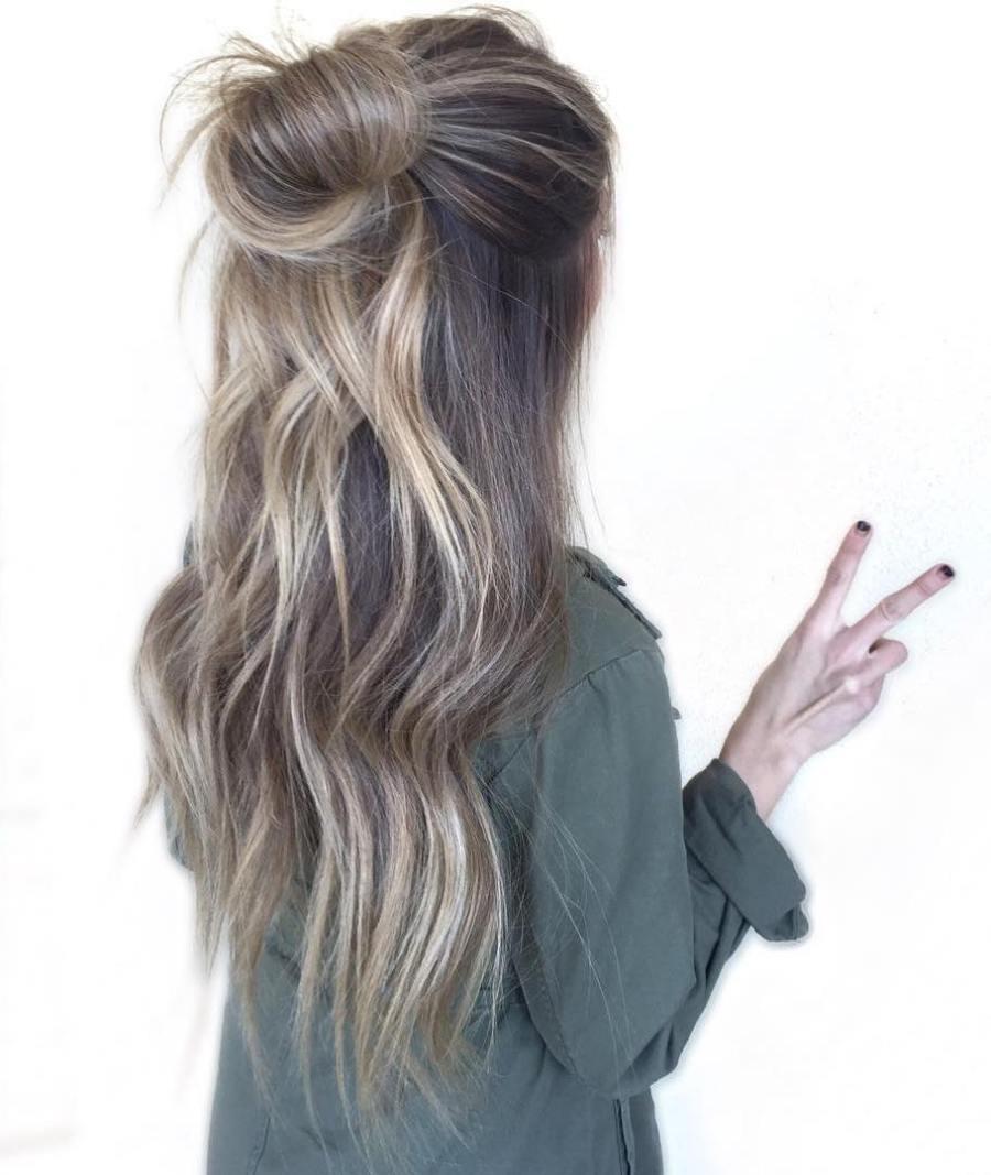 Bun Half Updo For Long Hair