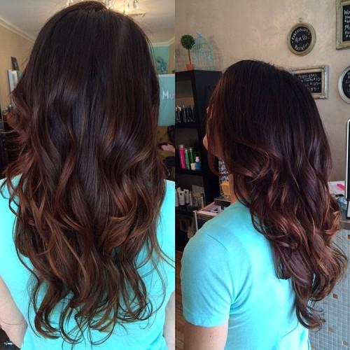 dark brown hair with dark chestnut highlights