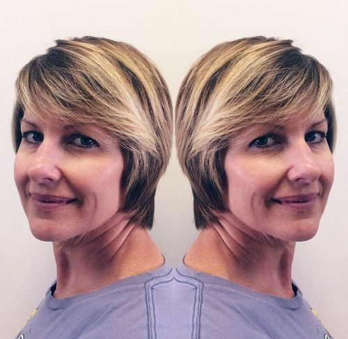 short hairstyle with bangs for older women