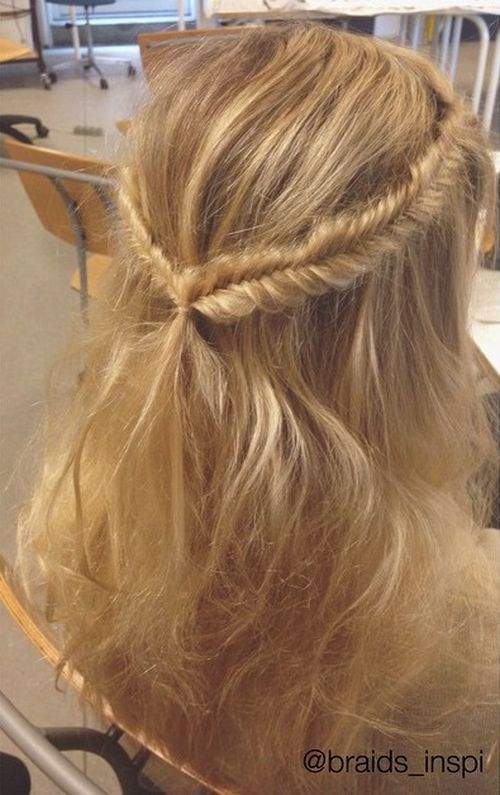 fishtail braided half up hairstyle for thin hair
