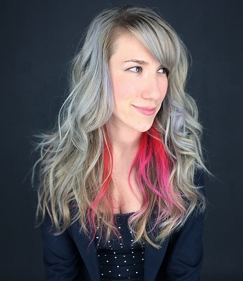 Gray Layered Hairstyle With Pink Peekaboo Highlights