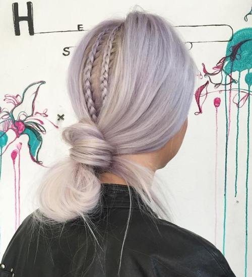 Low Pastel Purple Knot Updo