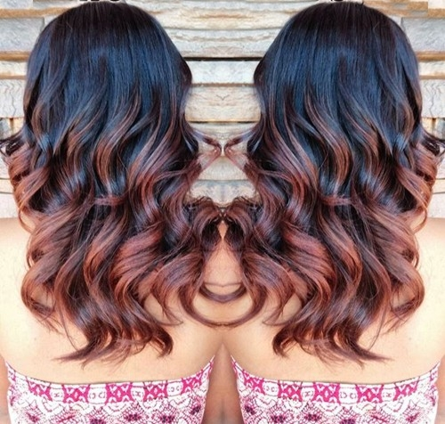black to reddish brown ombre