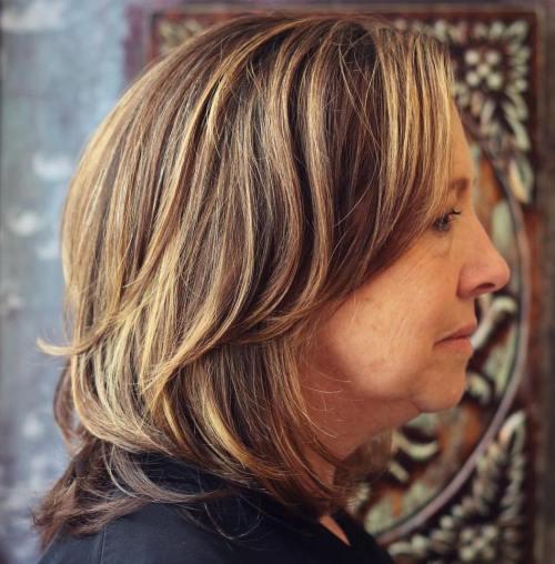 Medium Layered Haircut For 50+ Women