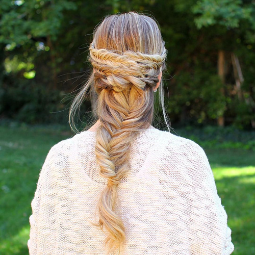 fishtail braid hairstyle for long hair
