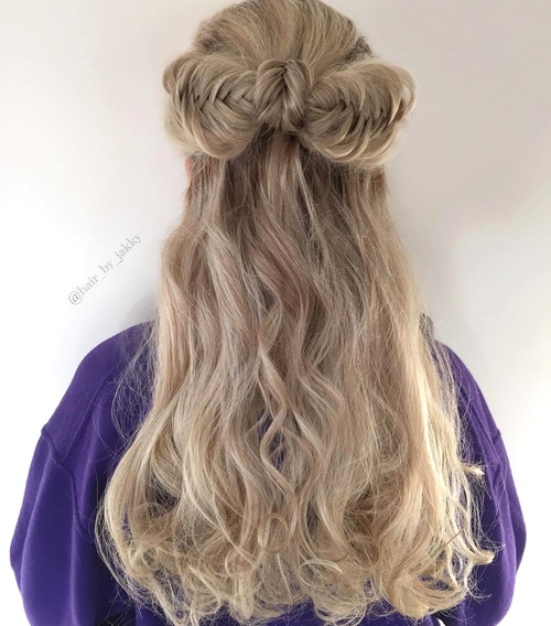 half updo with fishtailed bow