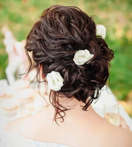 Loose Curly Bridal Updo