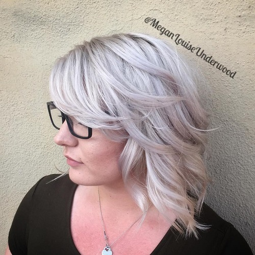 Silver Blonde Medium Curly Hairstyle