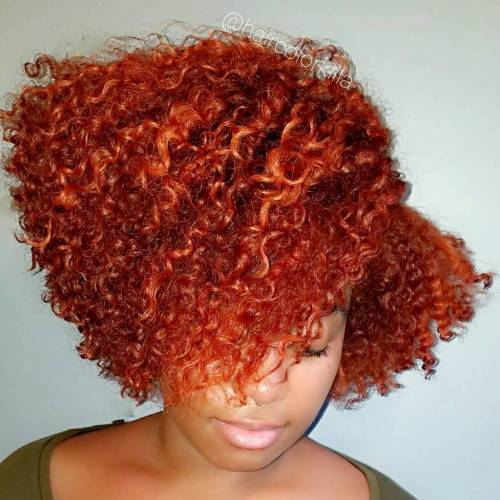 Curly Red  Bob For Black Women