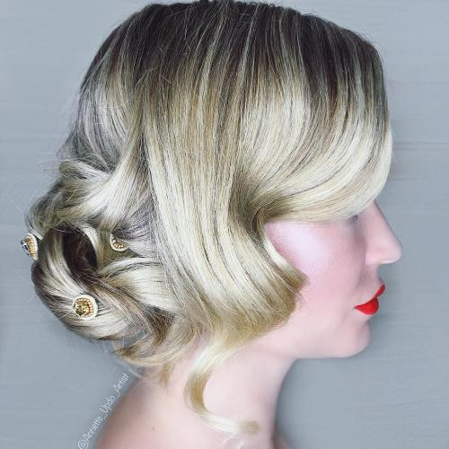 Curly Twisted Low Bun Updo