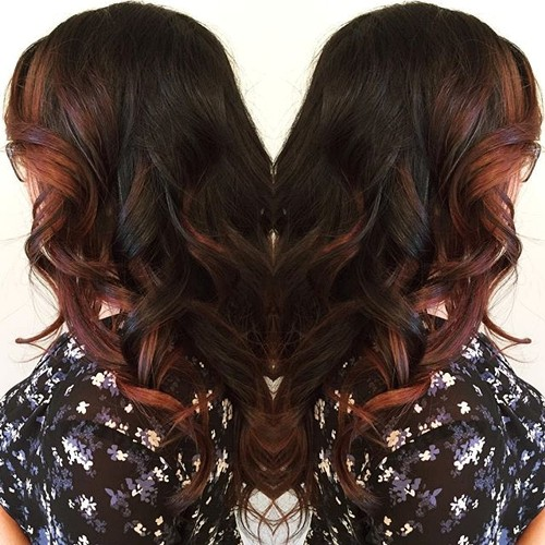 Chocolate red brown hair with highlights