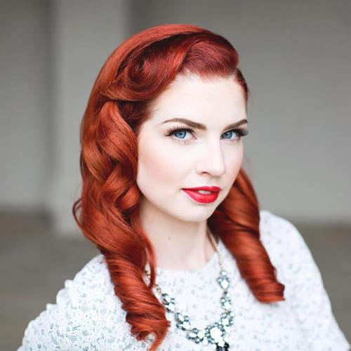 red curled vintage hairstyle