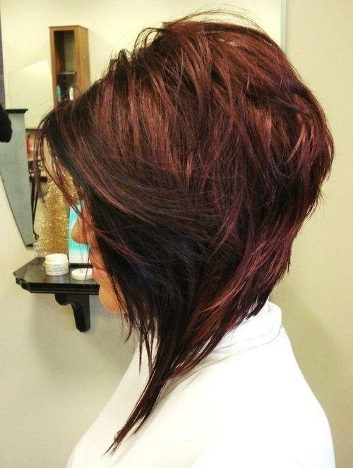 Stacked Angled Bob Haircut With Bangs 50 best a-line bob haircuts ...