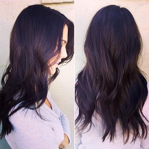 dark brown layered hair