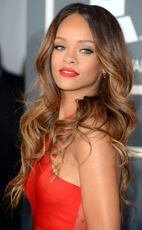 Rihanna brown ombre for long hair
