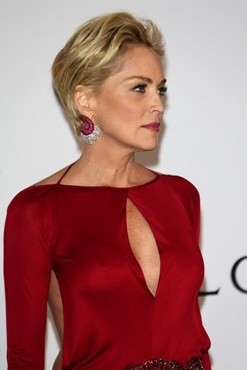 Sharon Stone short hairstyle for women over 50