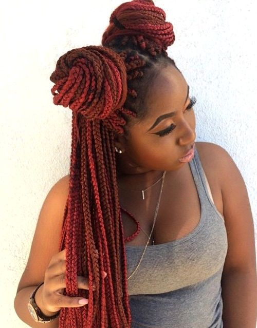 Red Ombre Box Braids Top 20 all the rage looks with long box braids