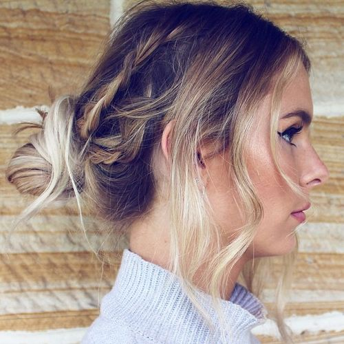 messy braids and knot hairstyle for long thin hair
