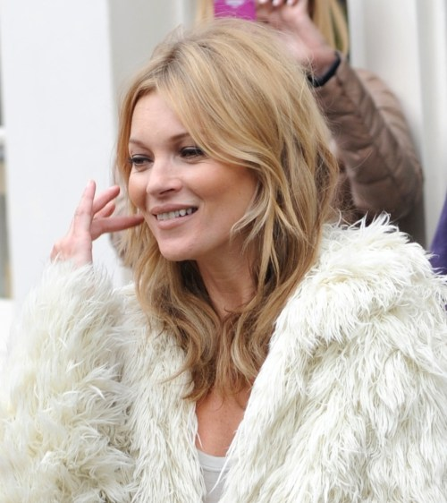 Kate Moss layered medium length hairstyle for fine hair