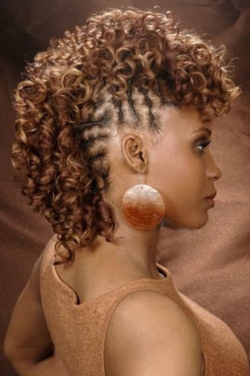 ... an extremely feminine touch to this gorgeous Mohawk with weave