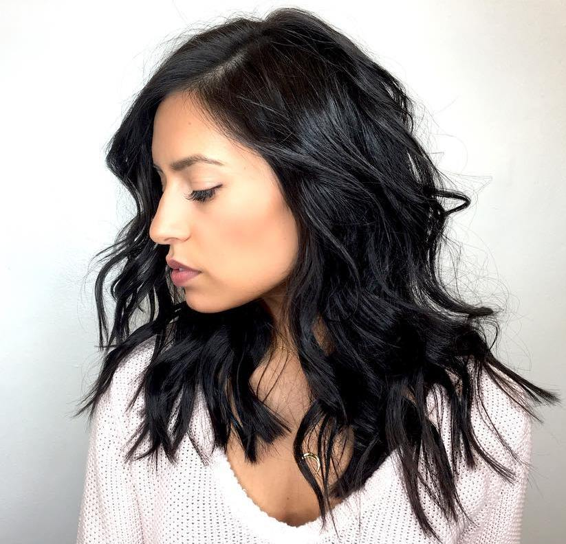 Medium Wavy Messy Black Hairstyle
