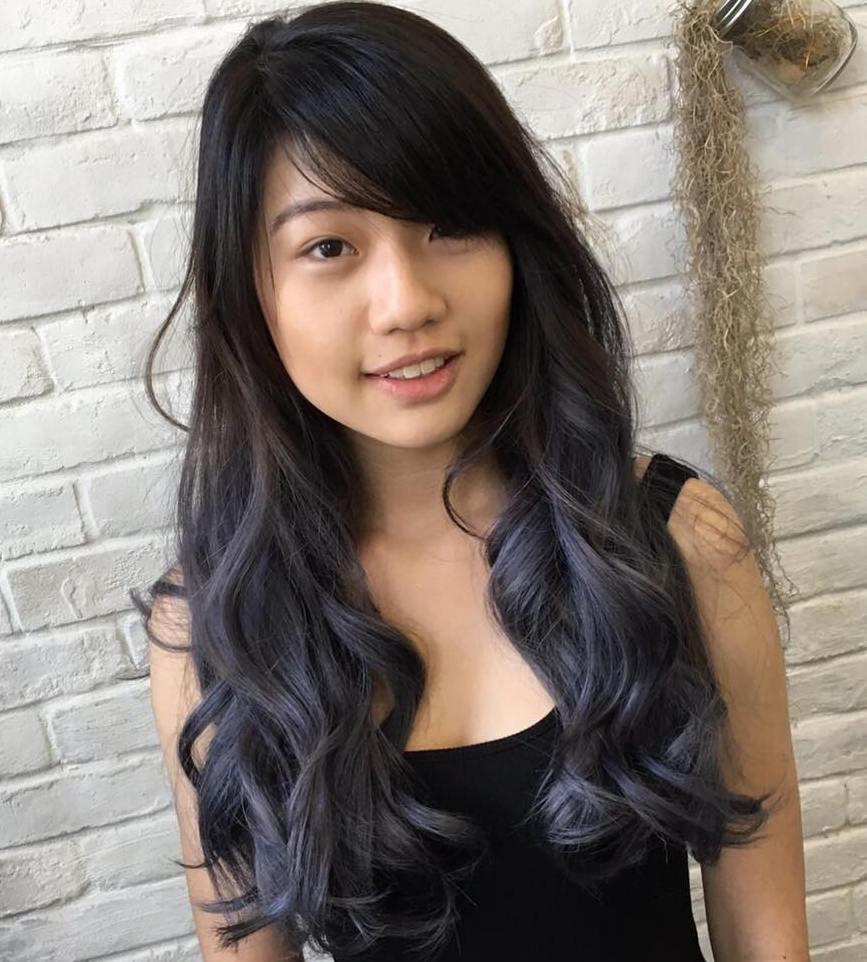 Brown hair with blue dip dye 2017