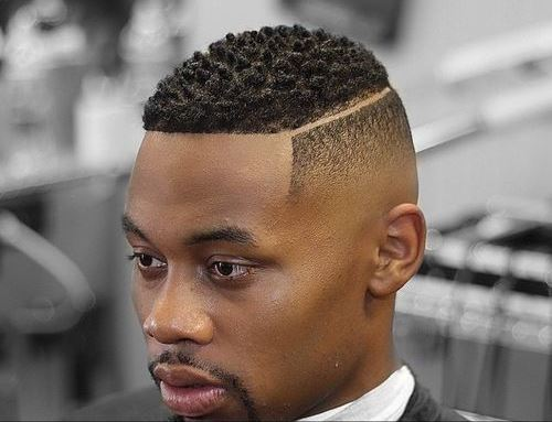 Black Man Fade Haircut with Part