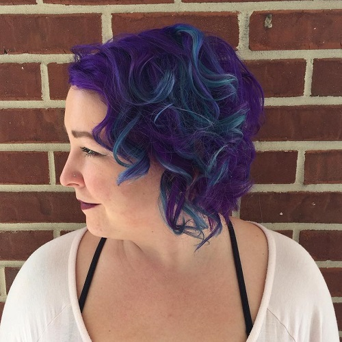 Blue And Purple Curly Bob