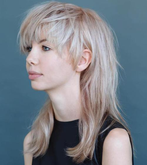 Medium Blonde Shag With Bangs