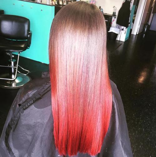 medium brown to red ombre