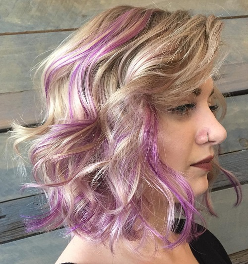 Blonde Wavy Lob With Lavender Highlights