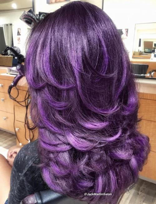 Long Layered Purple Hair
