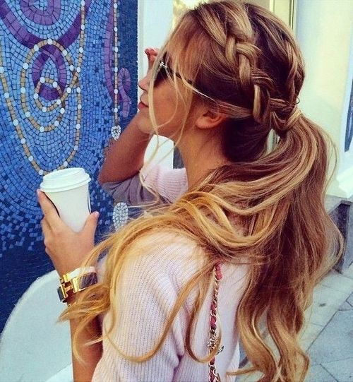 Triple Braided Low Ponytail with Highlights
