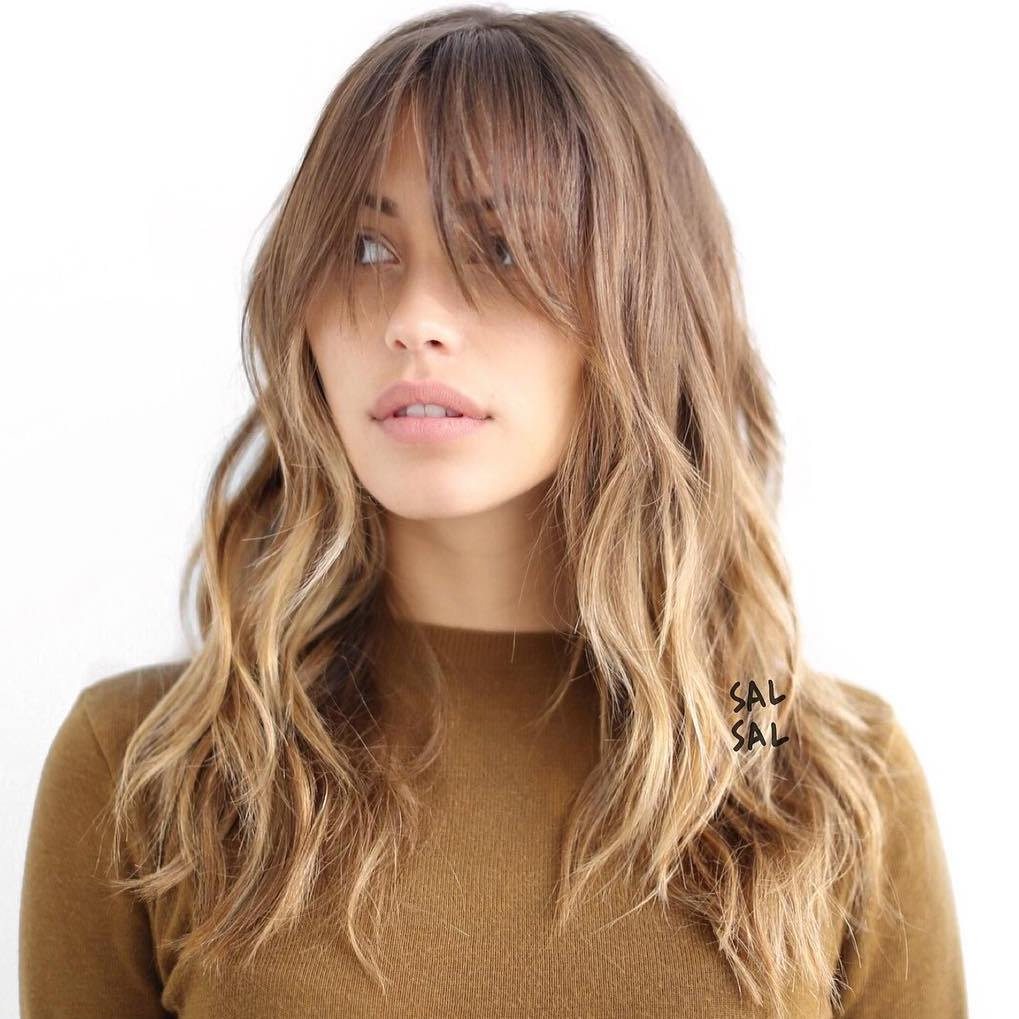 Hairstyles For Long Hair Long Bangs : Long Layered Hairstyle With Long Bangs