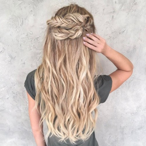 half updo with fishtail crown