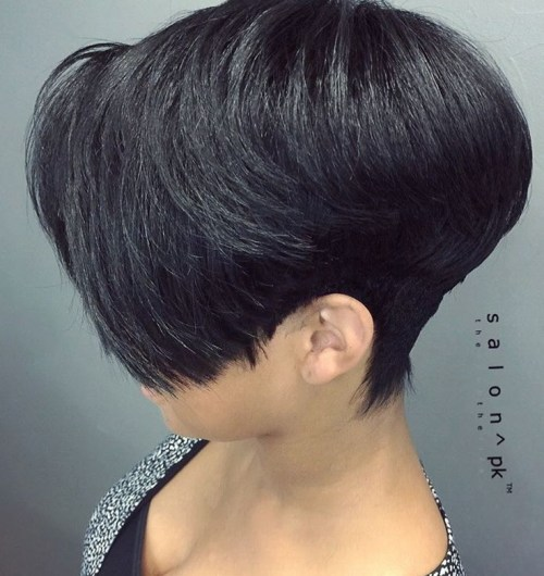 Black Tapered Pixie Bob Haircut