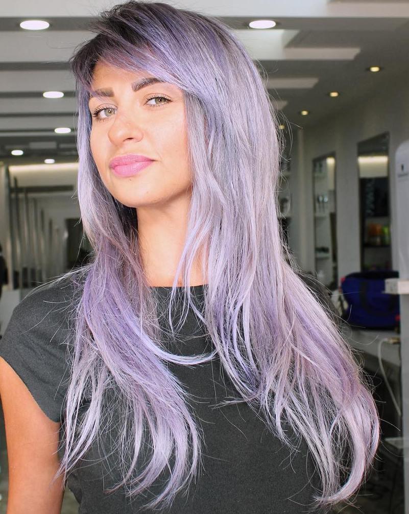 Long Pastel Purple Hairstyle
