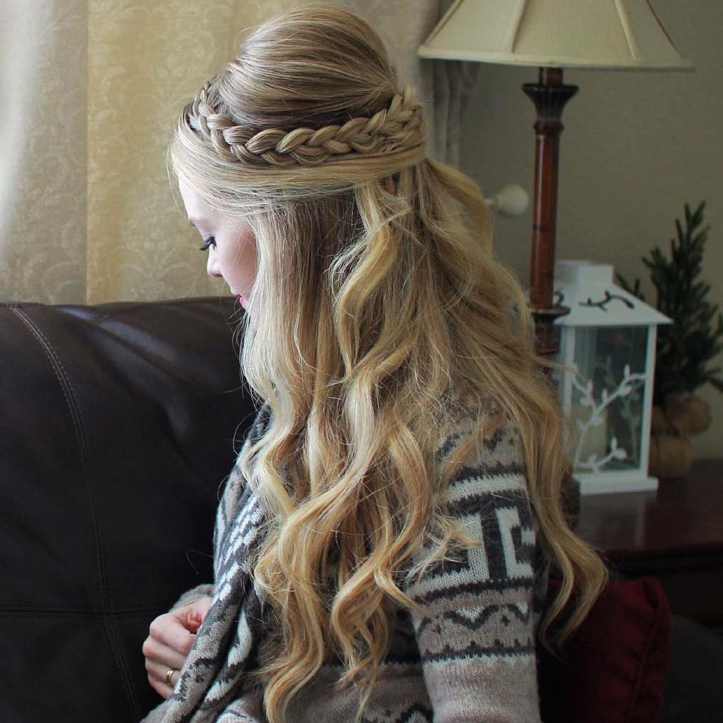 Braided Half Updo With A Bouffant